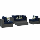 Modway Sojourn 5 Piece Outdoor Patio Wicker Rattan Sunbrella® Sectional Set in Canvas Navy MY-EEI-2378-CHC-NAV-SET