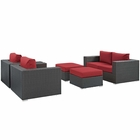 Modway Sojourn 5 Piece Outdoor Patio Wicker Rattan Sunbrella® Sectional Set in Canvas Red MY-EEI-1879-CHC-RED-SET