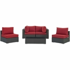 Modway Sojourn 5 Piece Outdoor Patio Wicker Rattan Sunbrella® Sectional Set in Canvas Red MY-EEI-1882-CHC-RED-SET