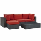 Modway Sojourn 5 Piece Outdoor Patio Wicker Rattan Sunbrella® Sectional Set in Canvas Red MY-EEI-1890-CHC-RED-SET