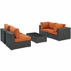 Modway Sojourn 5 Piece Outdoor Patio Wicker Rattan Sunbrella® Sectional Set in Canvas Tuscan MY-EEI-1882-CHC-TUS-SET