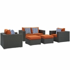 Modway Sojourn 5 Piece Outdoor Patio Wicker Rattan Sunbrella® Sectional Set in Canvas Tuscan MY-EEI-2375-CHC-TUS-SET