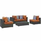 Modway Sojourn 5 Piece Outdoor Patio Wicker Rattan Sunbrella® Sectional Set in Canvas Tuscan MY-EEI-2378-CHC-TUS-SET