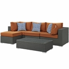 Modway Sojourn 5 Piece Outdoor Patio Wicker Rattan Sunbrella® Sectional Set in Canvas Tuscan MY-EEI-2385-CHC-TUS-SET