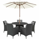 Modway Sojourn 7 Piece Outdoor Patio Wicker Rattan Sunbrella® Fabric Dining Set in Canvas Gray MY-EEI-2246-CHC-GRY-SET