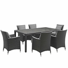 Modway Sojourn 7 Piece Outdoor Patio Wicker Rattan Sunbrella® Fabric Dining Set in Canvas Gray MY-EEI-2271-CHC-GRY-SET