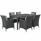 Modway Sojourn 7 Piece Outdoor Patio Wicker Rattan Sunbrella® Fabric Dining Set in Canvas Gray MY-EEI-2312-CHC-GRY-SET
