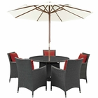Modway Sojourn 7 Piece Outdoor Patio Wicker Rattan Sunbrella® Fabric Dining Set in Canvas Red MY-EEI-2246-CHC-RED-SET