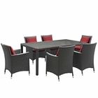 Modway Sojourn 7 Piece Outdoor Patio Wicker Rattan Sunbrella® Fabric Dining Set in Canvas Red MY-EEI-2271-CHC-RED-SET