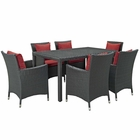 Modway Sojourn 7 Piece Outdoor Patio Wicker Rattan Sunbrella® Fabric Dining Set in Canvas Red MY-EEI-2312-CHC-RED-SET