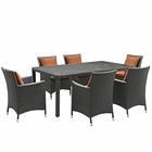 Modway Sojourn 7 Piece Outdoor Patio Wicker Rattan Sunbrella® Fabric Dining Set in Canvas Tuscan MY-EEI-2271-CHC-TUS-SET