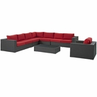Modway Sojourn 7 Piece Outdoor Patio Wicker Rattan Sunbrella® Fabric Sectional Set in Canvas Red MY-EEI-2013-CHC-RED-SET