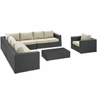 Modway Sojourn 7 Piece Outdoor Patio Wicker Rattan Sunbrella® Fabric Sectional Set in Chocolate Beige MY-EEI-2013-CHC-BEI-SET
