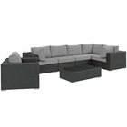 Modway Sojourn 7 Piece Outdoor Patio Wicker Rattan Sunbrella® Sectional Set in Canvas Gray MY-EEI-1878-CHC-GRY-SET