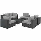 Modway Sojourn 7 Piece Outdoor Patio Wicker Rattan Sunbrella® Sectional Set in Canvas Gray MY-EEI-1883-CHC-GRY-SET