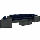 Modway Sojourn 7 Piece Outdoor Patio Wicker Rattan Sunbrella® Sectional Set in Canvas Navy MY-EEI-1878-CHC-NAV-SET