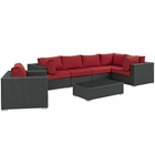 Modway Sojourn 7 Piece Outdoor Patio Wicker Rattan Sunbrella® Sectional Set in Canvas Red MY-EEI-1878-CHC-RED-SET
