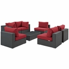 Modway Sojourn 7 Piece Outdoor Patio Wicker Rattan Sunbrella® Sectional Set in Canvas Red MY-EEI-1883-CHC-RED-SET