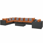 Modway Sojourn 7 Piece Outdoor Patio Wicker Rattan Sunbrella® Sectional Set in Chocolate Tuscan MY-EEI-2399-CHC-TUS-SET