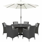 Modway Sojourn 8 Piece Outdoor Patio Wicker Rattan Sunbrella® Fabric Dining Set in Canvas Gray MY-EEI-2270-CHC-GRY-SET