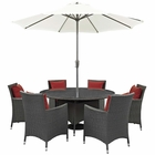 Modway Sojourn 8 Piece Outdoor Patio Wicker Rattan Sunbrella® Fabric Dining Set in Canvas Red MY-EEI-2270-CHC-RED-SET