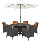 Modway Sojourn 8 Piece Outdoor Patio Wicker Rattan Sunbrella® Fabric Dining Set in Canvas Tuscan MY-EEI-2270-CHC-TUS-SET