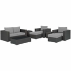 Modway Sojourn 8 Piece Outdoor Patio Wicker Rattan Sunbrella® Sectional Set in Canvas Gray MY-EEI-1880-CHC-GRY-SET