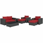 Modway Sojourn 8 Piece Outdoor Patio Wicker Rattan Sunbrella® Sectional Set in Canvas Red MY-EEI-1880-CHC-RED-SET