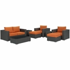 Modway Sojourn 8 Piece Outdoor Patio Wicker Rattan Sunbrella® Sectional Set in Canvas Tuscan MY-EEI-1880-CHC-TUS-SET