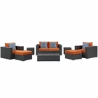 Modway Sojourn 8 Piece Outdoor Patio Wicker Rattan Sunbrella® Sectional Set in Canvas Tuscan MY-EEI-2376-CHC-TUS-SET