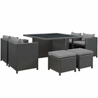 Modway Sojourn 9 Piece Outdoor Patio Wicker Rattan Sunbrella® Dining Set in Canvas Gray MY-EEI-1946-CHC-GRY-SET