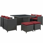 Modway Sojourn 9 Piece Outdoor Patio Wicker Rattan Sunbrella® Dining Set in Canvas Red MY-EEI-1946-CHC-RED-SET