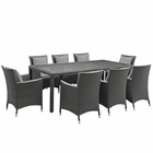 Modway Sojourn 9 Piece Outdoor Patio Wicker Rattan Sunbrella® Fabric Dining Set in Canvas Gray MY-EEI-2309-CHC-GRY-SET
