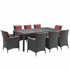 Modway Sojourn 9 Piece Outdoor Patio Wicker Rattan Sunbrella® Fabric Dining Set in Canvas Red MY-EEI-2309-CHC-RED-SET