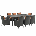 Modway Sojourn 9 Piece Outdoor Patio Wicker Rattan Sunbrella® Fabric Dining Set in Canvas Tuscan MY-EEI-2309-CHC-TUS-SET