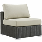 Modway Sojourn Armless Outdoor Patio Wicker Rattan Sunbrella® Sectional Set in Canvas Antique Beige MY-EEI-1854-CHC-BEI