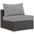 Modway Sojourn Armless Outdoor Patio Wicker Rattan Sunbrella® Sectional Set in Canvas Gray MY-EEI-1854-CHC-GRY
