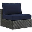 Modway Sojourn Armless Outdoor Patio Wicker Rattan Sunbrella® Sectional Set in Canvas Navy MY-EEI-1854-CHC-NAV