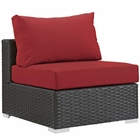Modway Sojourn Armless Outdoor Patio Wicker Rattan Sunbrella® Sectional Set in Canvas Red MY-EEI-1854-CHC-RED
