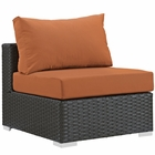 Modway Sojourn Armless Outdoor Patio Wicker Rattan Sunbrella® Sectional Set in Canvas Tuscan MY-EEI-1854-CHC-TUS