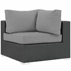 Modway Sojourn Corner Outdoor Patio Wicker Rattan Sunbrella® Sectional Set in Canvas Gray MY-EEI-1856-CHC-GRY
