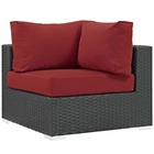Modway Sojourn Corner Outdoor Patio Wicker Rattan Sunbrella® Sectional Set in Canvas Red MY-EEI-1856-CHC-RED