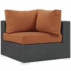 Modway Sojourn Corner Outdoor Patio Wicker Rattan Sunbrella® Sectional Set in Canvas Tuscan MY-EEI-1856-CHC-TUS