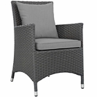 Modway Sojourn Dining Outdoor Patio Wicker Rattan Sunbrella® Armchair in Canvas Gray MY-EEI-1924-CHC-GRY