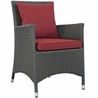 Modway Sojourn Dining Outdoor Patio Wicker Rattan Sunbrella® Armchair in Canvas Red MY-EEI-1924-CHC-RED