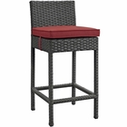 Modway Sojourn Outdoor Patio Wicker Rattan Sunbrella® Bar Stool in Canvas Red MY-EEI-1957-CHC-RED