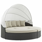 Modway Sojourn Outdoor Patio Wicker Rattan Sunbrella® Daybed in Antique Canvas Beige MY-EEI-1986-CHC-BEI-SET