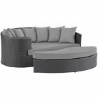 Modway Sojourn Outdoor Patio Wicker Rattan Sunbrella® Daybed in Canvas Gray MY-EEI-1982-CHC-GRY
