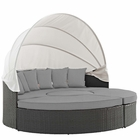Modway Sojourn Outdoor Patio Wicker Rattan Sunbrella® Daybed in Canvas Gray MY-EEI-1986-CHC-GRY
