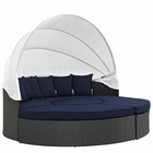 Modway Sojourn Outdoor Patio Wicker Rattan Sunbrella® Daybed in Canvas Navy MY-EEI-1986-CHC-NAV-SET